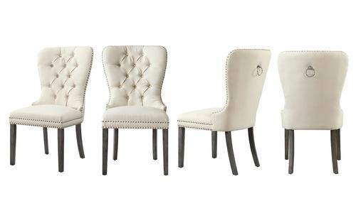 cream tufted dining chairs