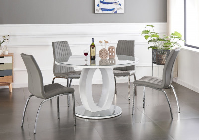 round black glass dining table and chairs