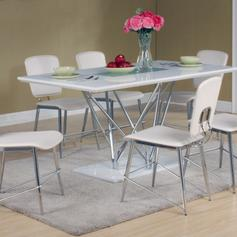 white gloss dining table and 6 chairs