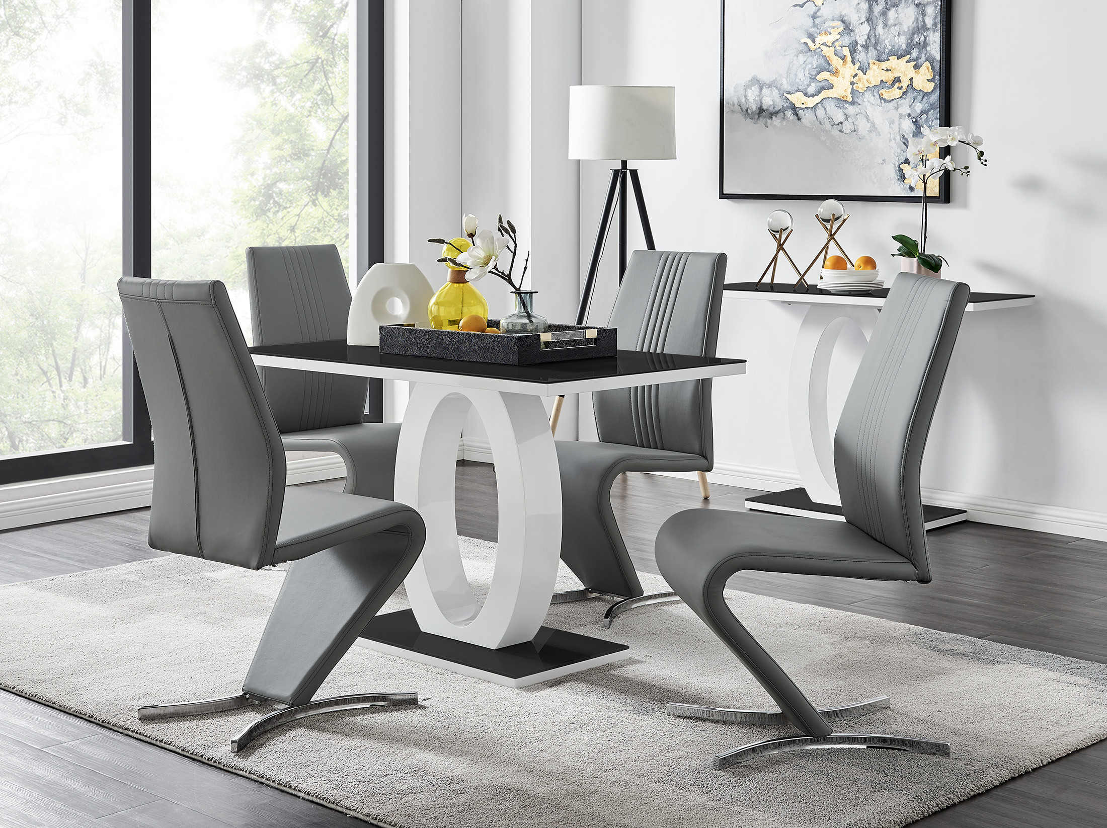 Black White High Gloss Dining Table 4 Willow Chairs Furniturebox