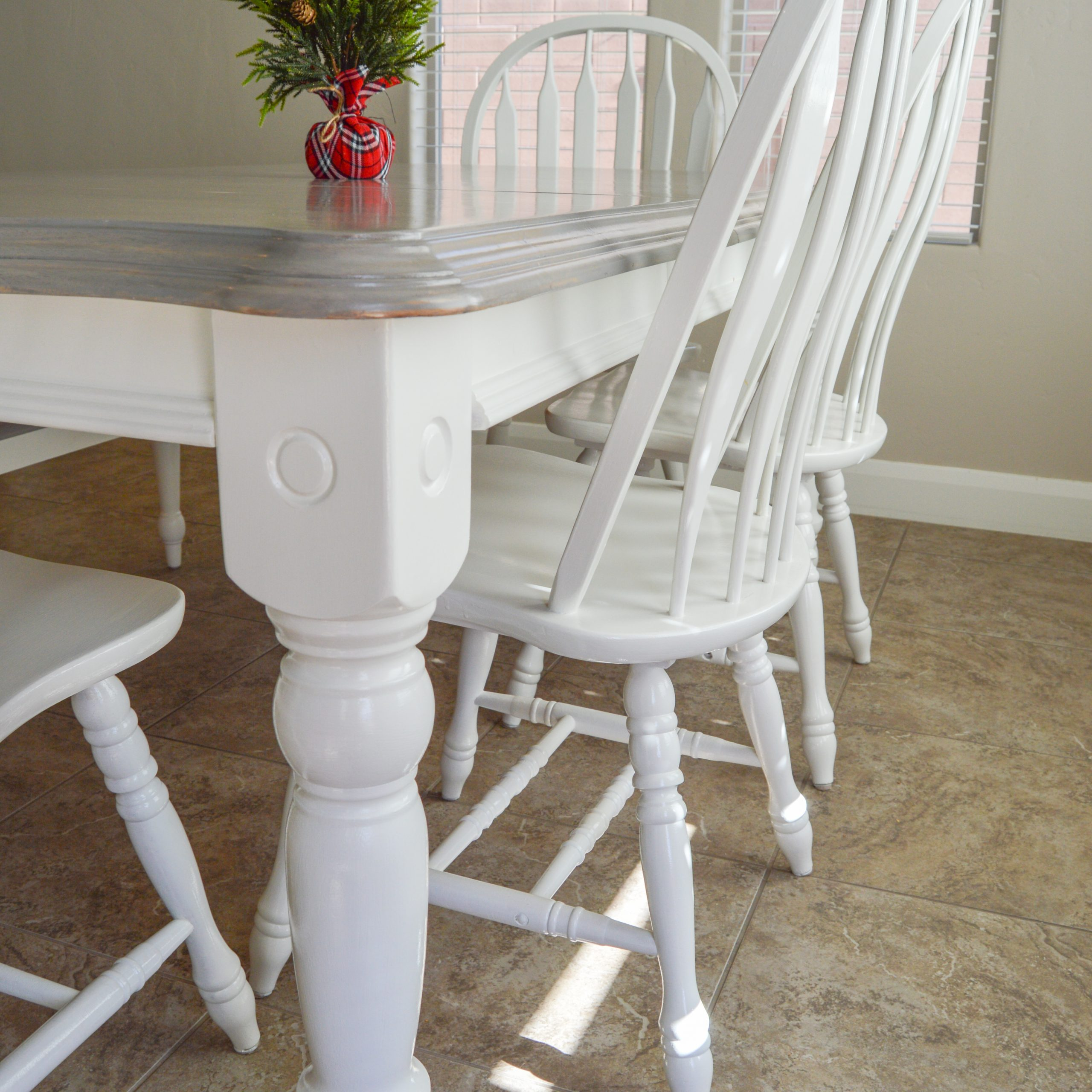 grey painted dining chairs