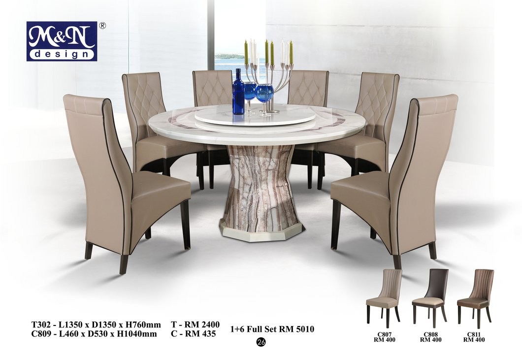 round marble dining table and chairs