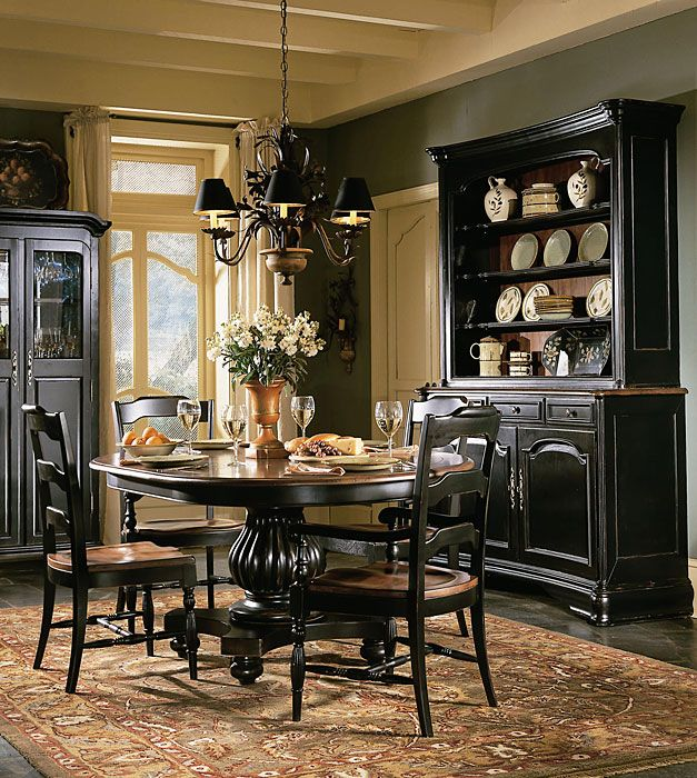 black antique dining table