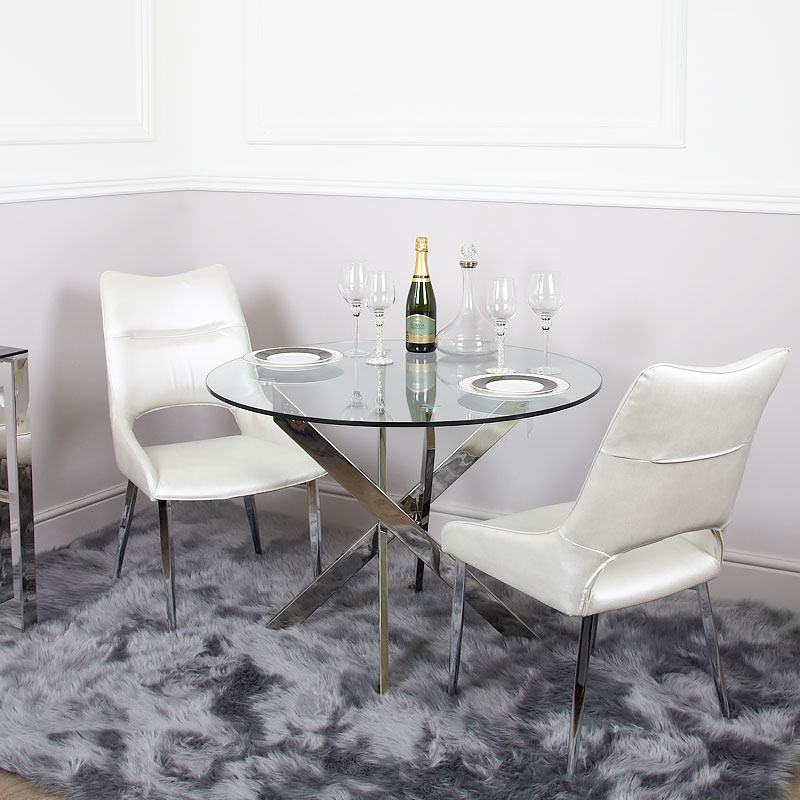 white glass round dining table