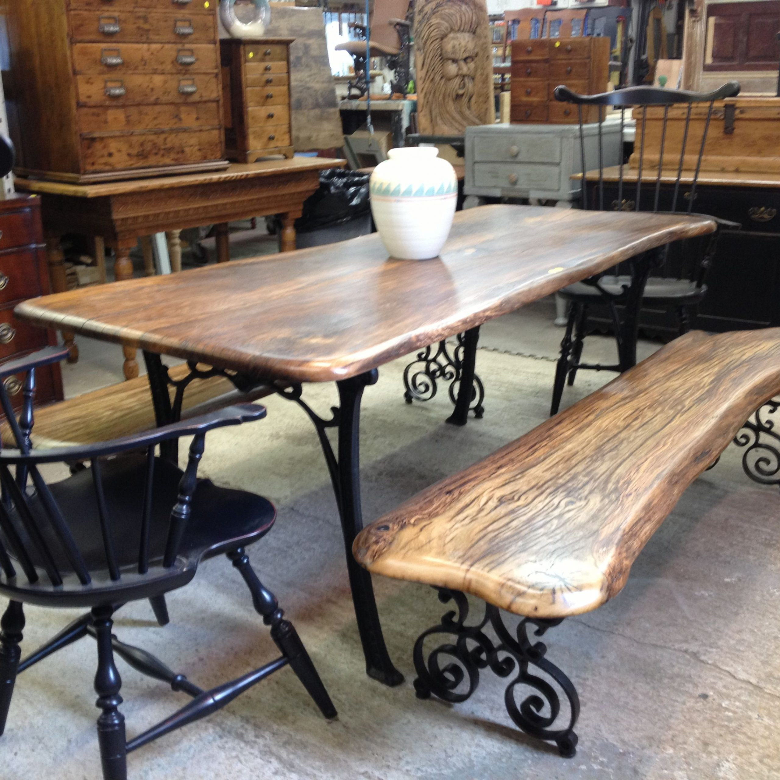 rustic wood and iron dining table