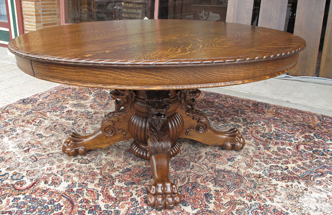 antique dining room table with claw feet