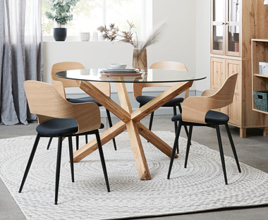 black and white fabric dining chairs