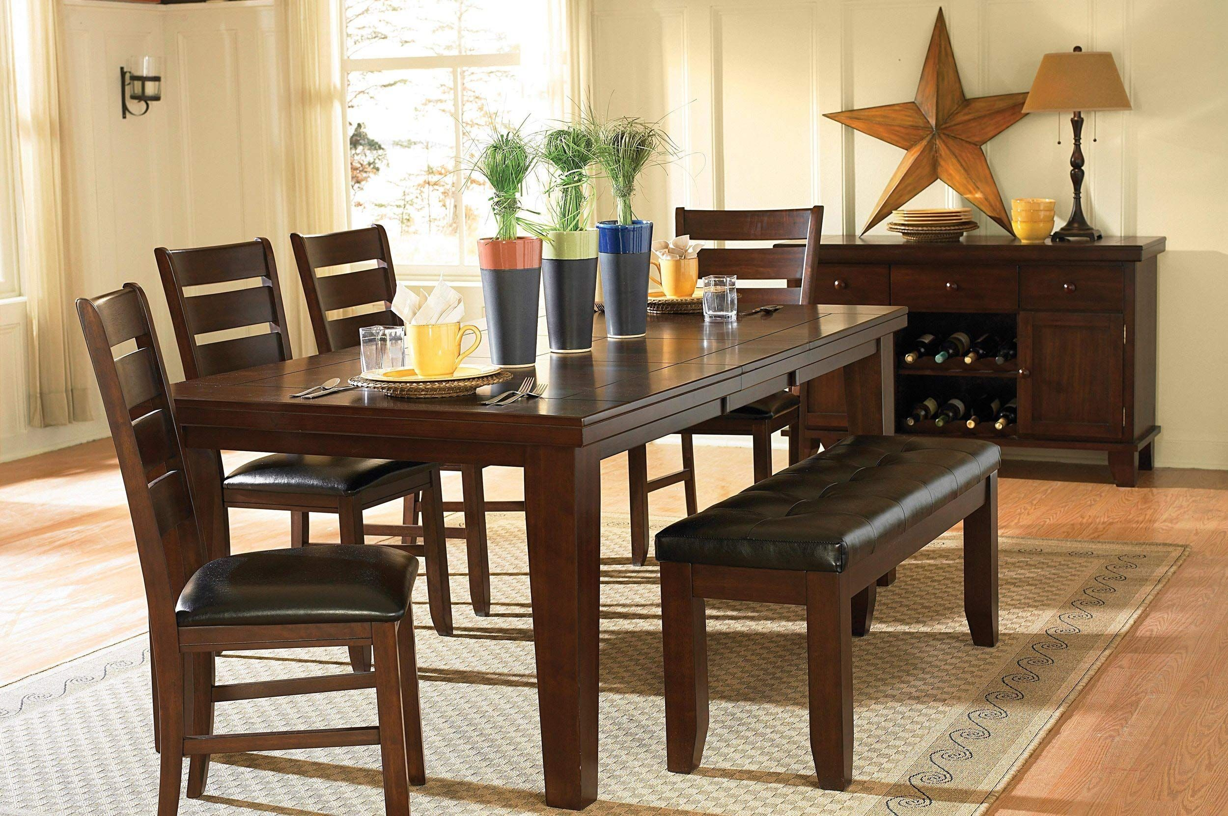 dining chairs and bench