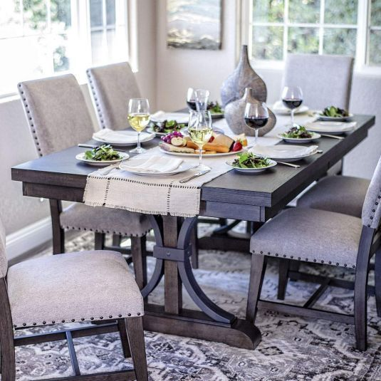 dining table sets with fabric chairs