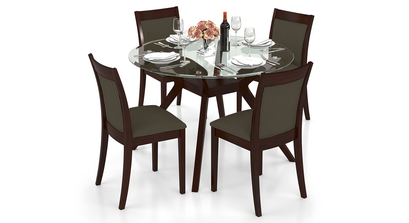 round glass top dining table set 4 chairs