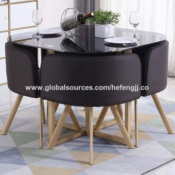 China Glass Round Top Dining Table With 4 Chairs Set On Global Sources Glass Dining Table Set