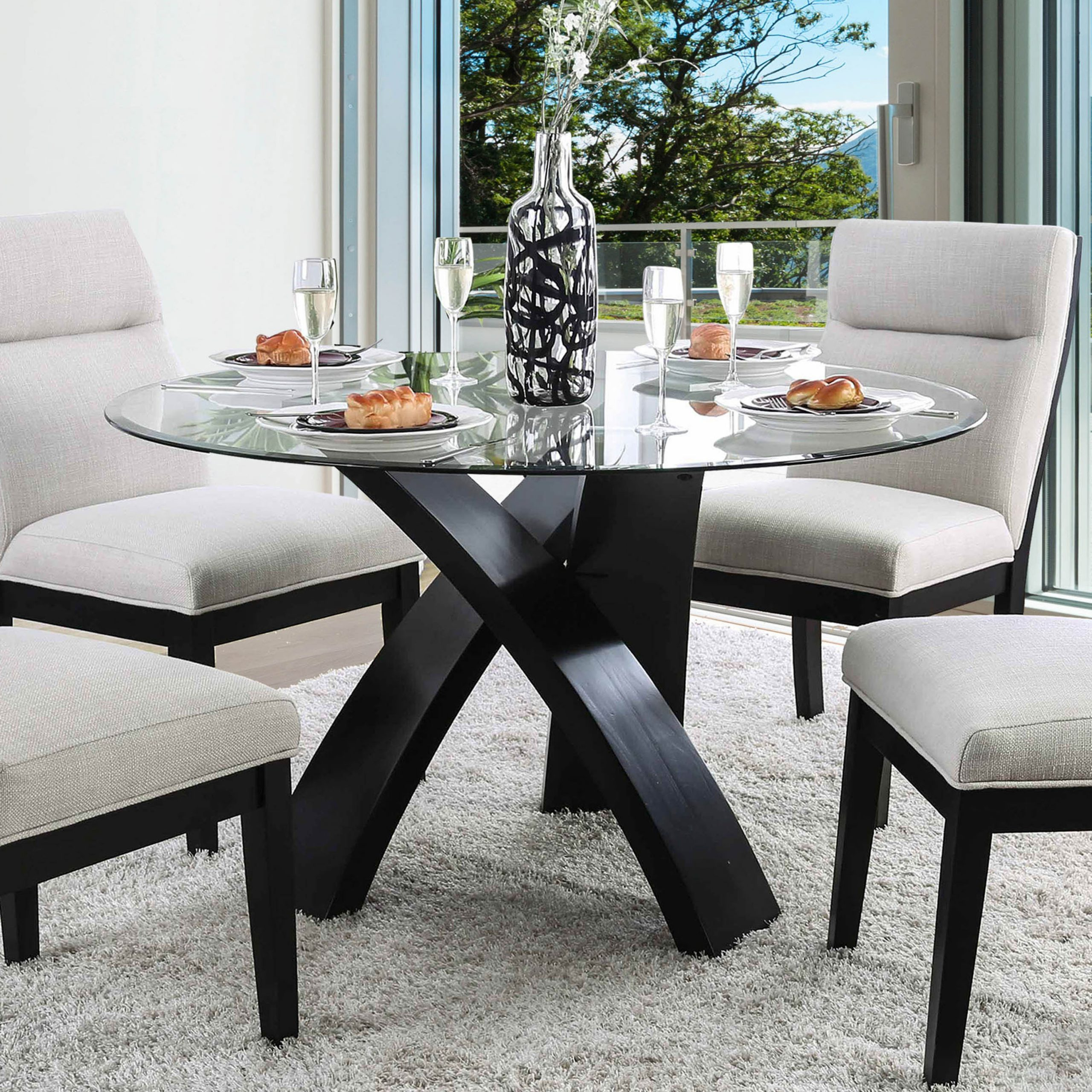 modern round glass dining table set