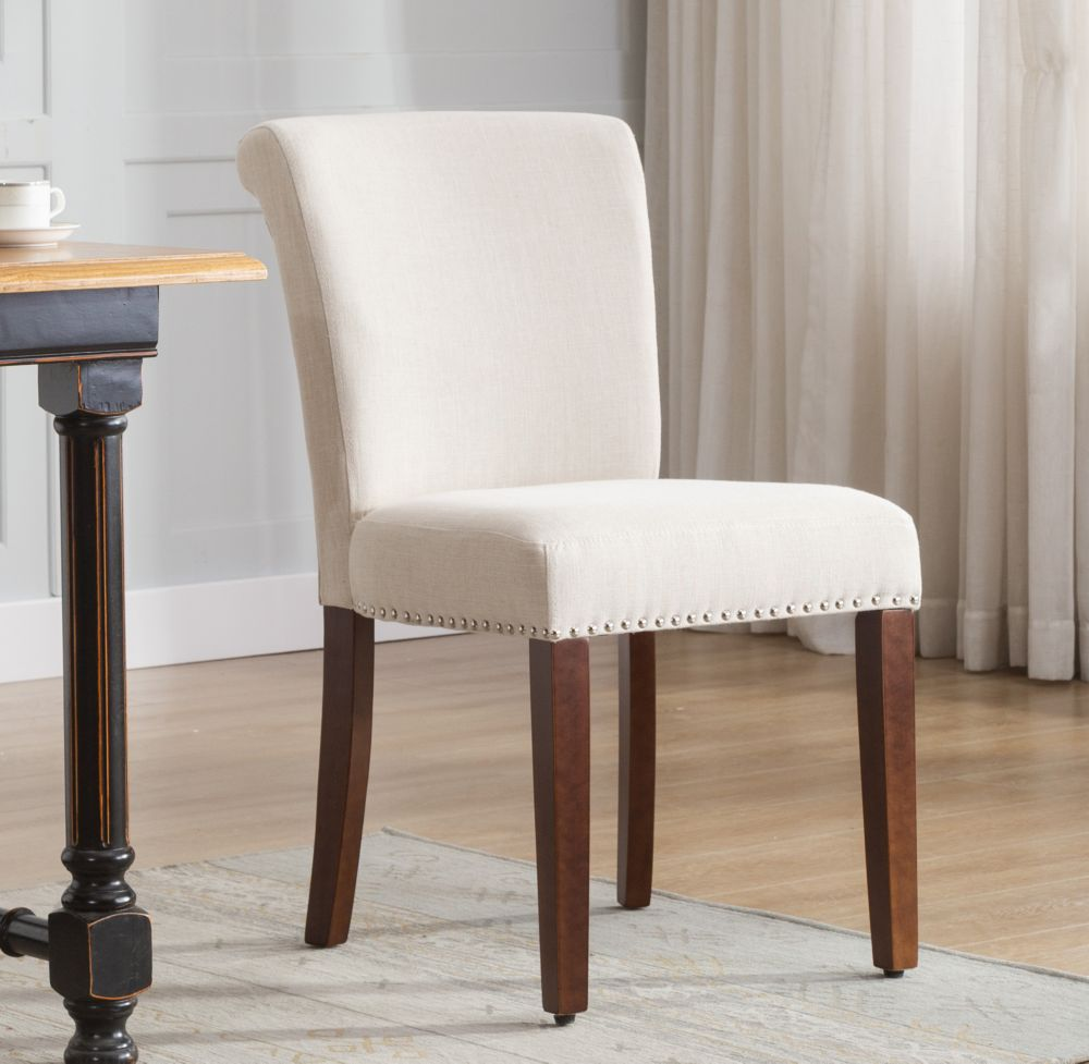 beige linen dining chairs