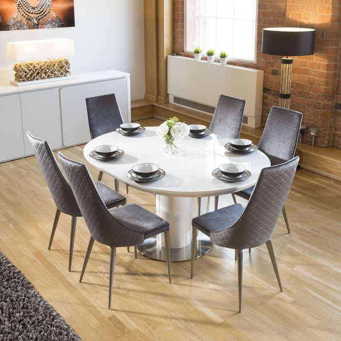 white oval extending dining table