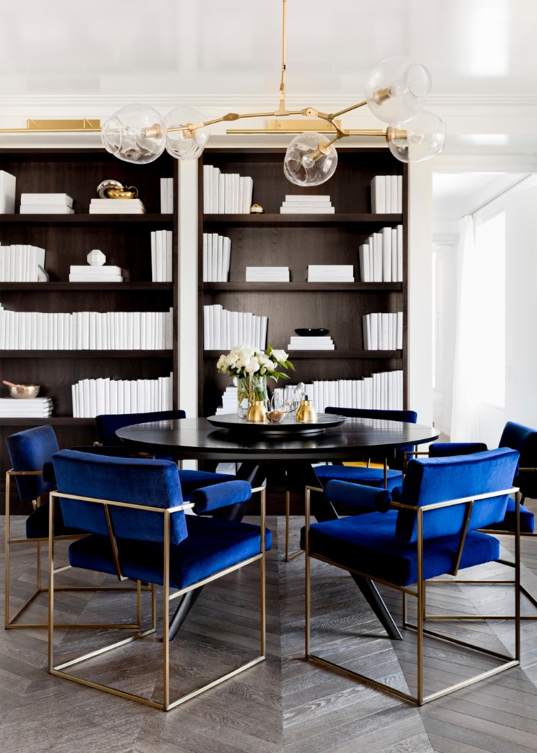 blue dining table chairs