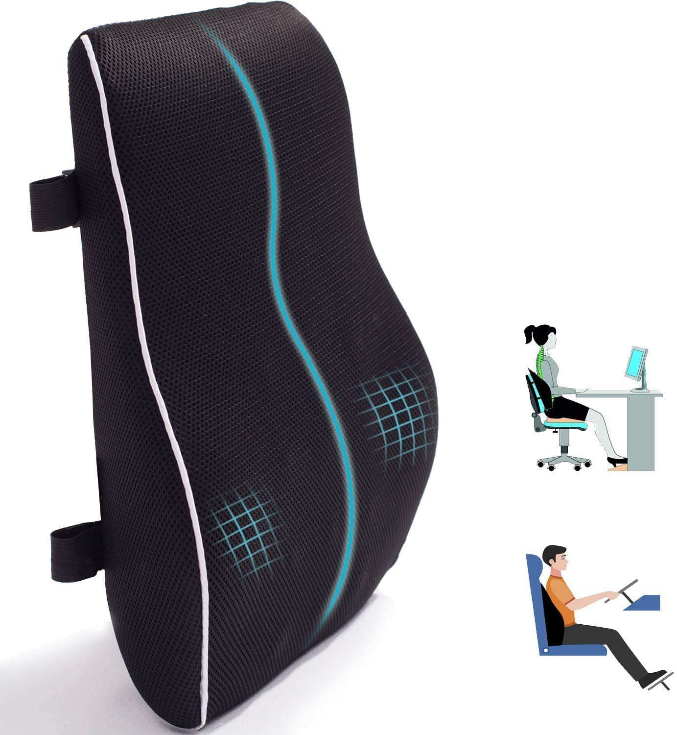 Amazon Com Lumbar Support Pillow For Office Chair Car Memory Foam Back Cushion For Back Pain Relief Improve Posture Large Back Pillow For Computer Gaming Chair Recliner With Mesh Cover Double Adjustable Straps