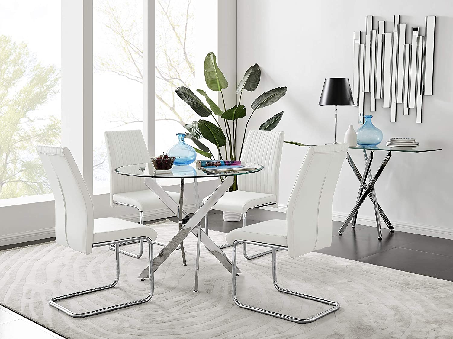 round glass dining table with white chairs
