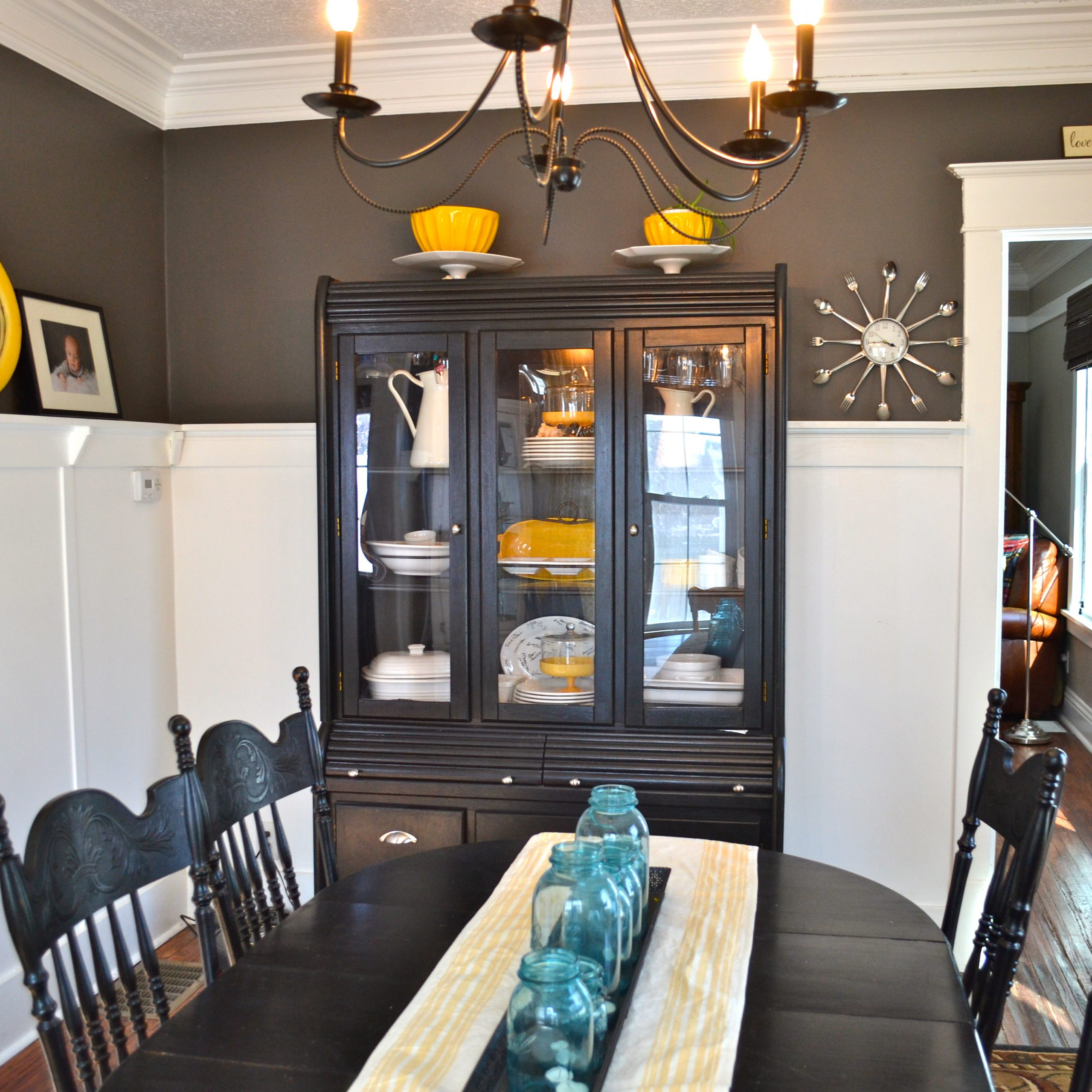 dark grey painted dining table