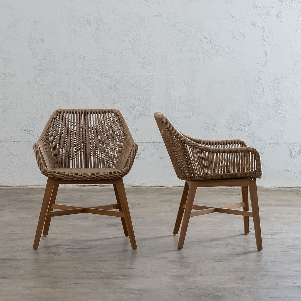 Inizia Woven Rattan Indoor Outdoor Dining Chair Ash Grey