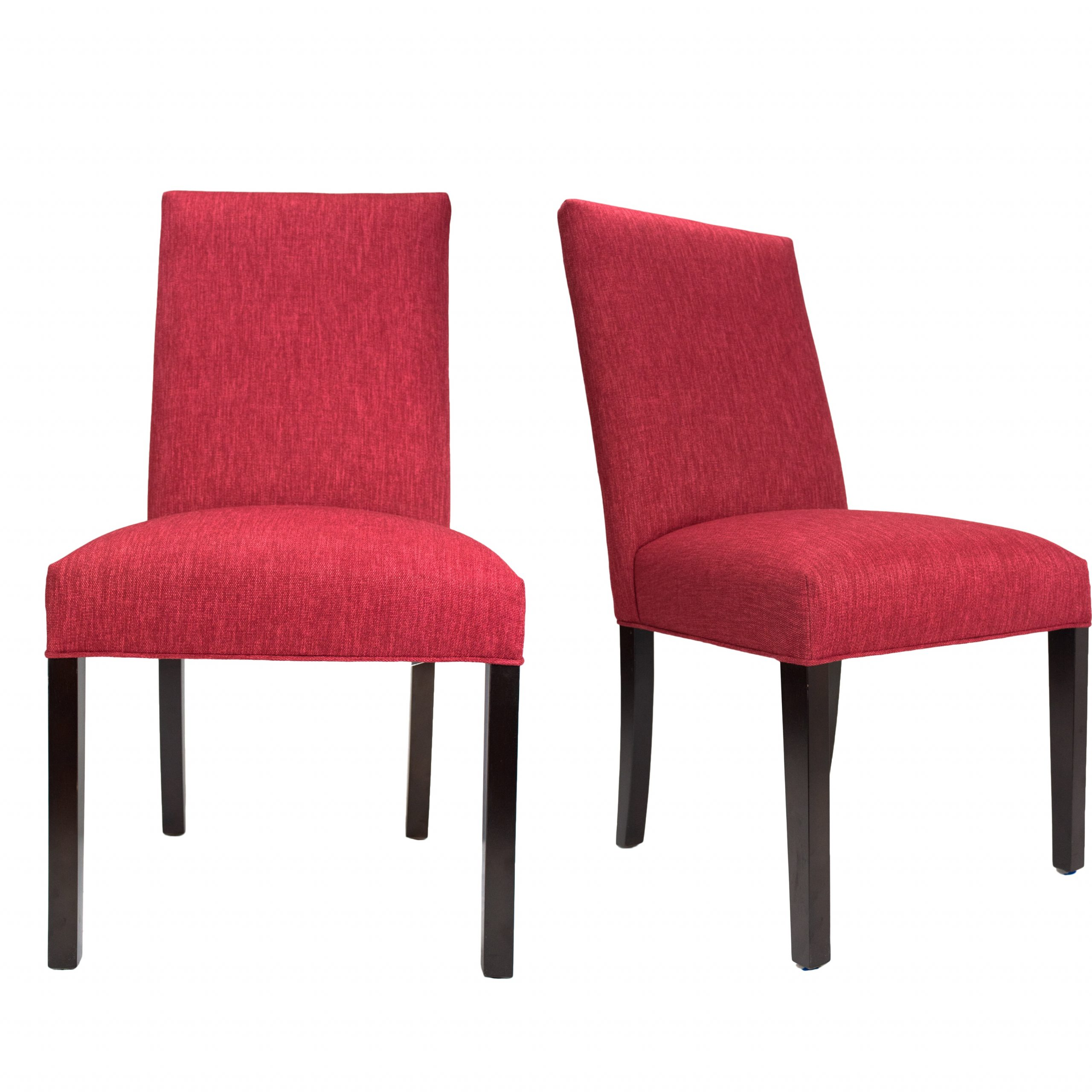 red upholstered dining chairs