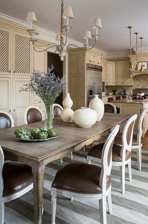 French Dining Table With Cabriolet Legs And Round Back Dining Chairs Transitional Dining R Dining Room French French Dining Tables Round Back Dining Chairs