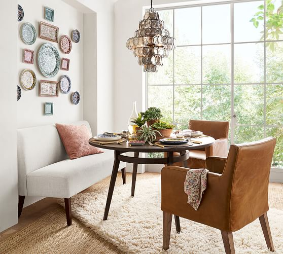 pottery barn leather dining chairs