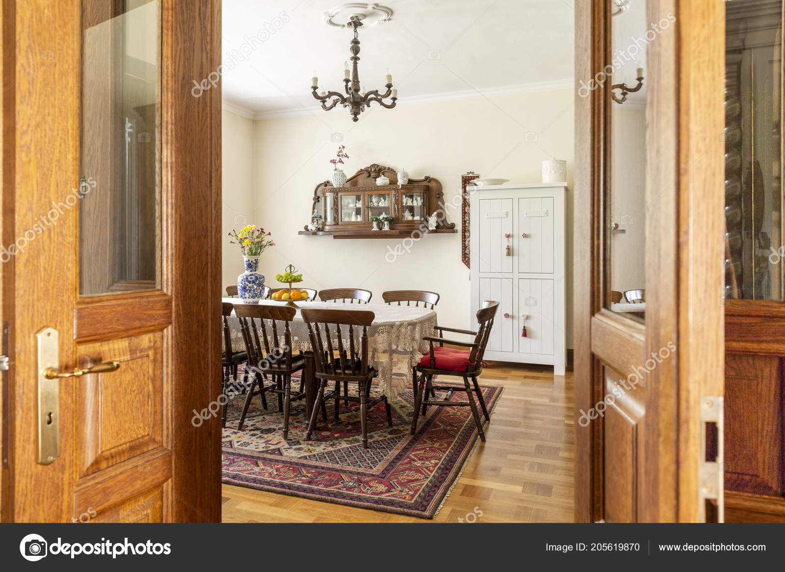 Real Photo Antique Dining Room Interior Big Table Chairs Wall Stock Photo C Photographee Eu 205619870