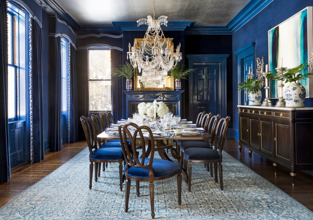 antique blue dining chairs