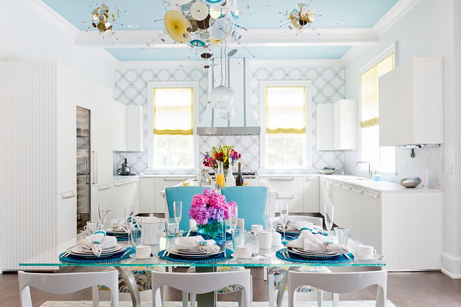 pale blue dining chairs