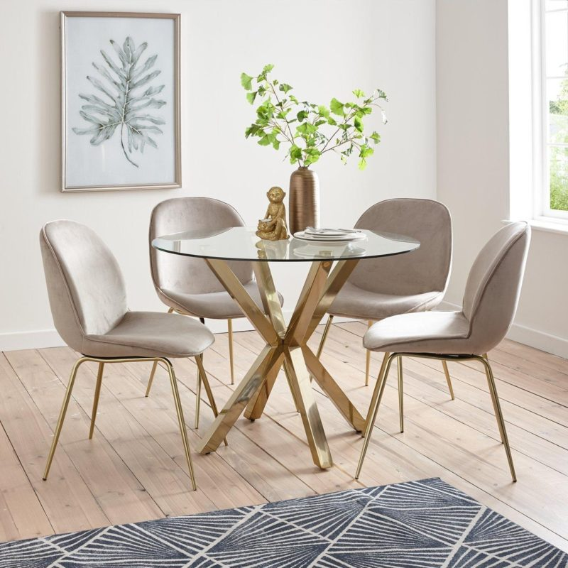 taupe velvet dining chairs