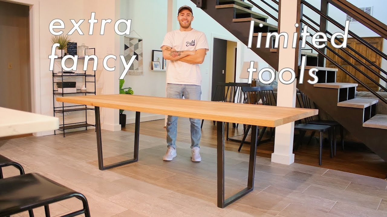 How To Build A High Quality Dining Table With Limited Tools Diy Woodworking Youtube