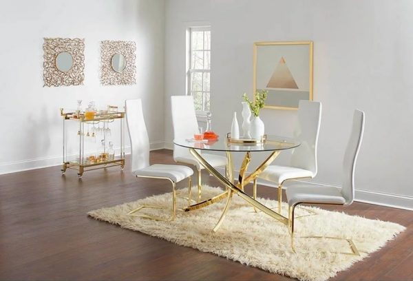 circular glass dining table and 4 chairs