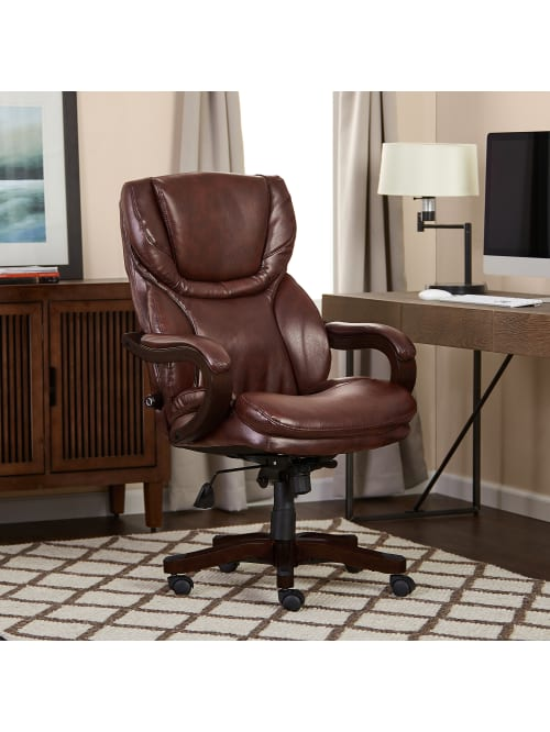 serta works executive office chair bonded leather brown