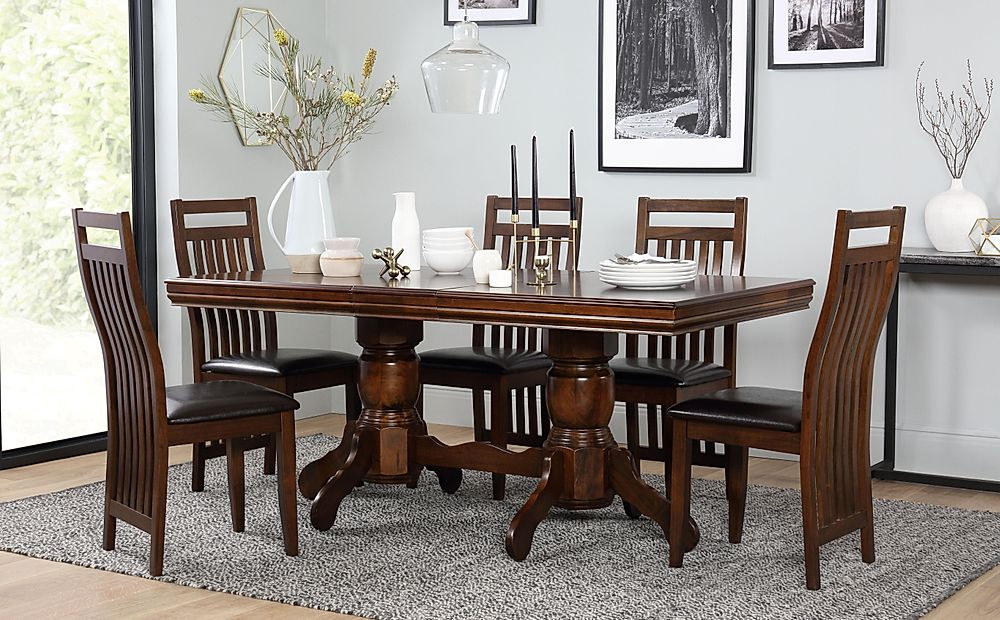 dark brown leather dining room chairs