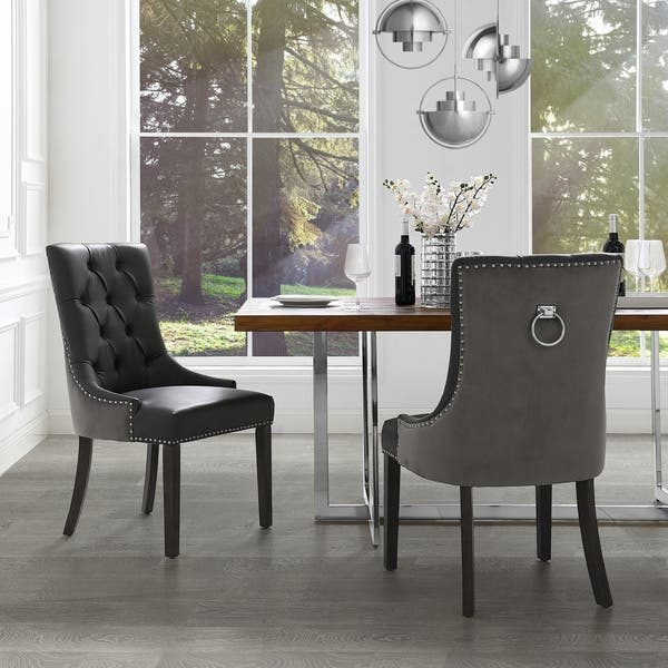 George Leather Dining Chair Tufted Nailhead Trim Set Of 2 Overstock 24239417