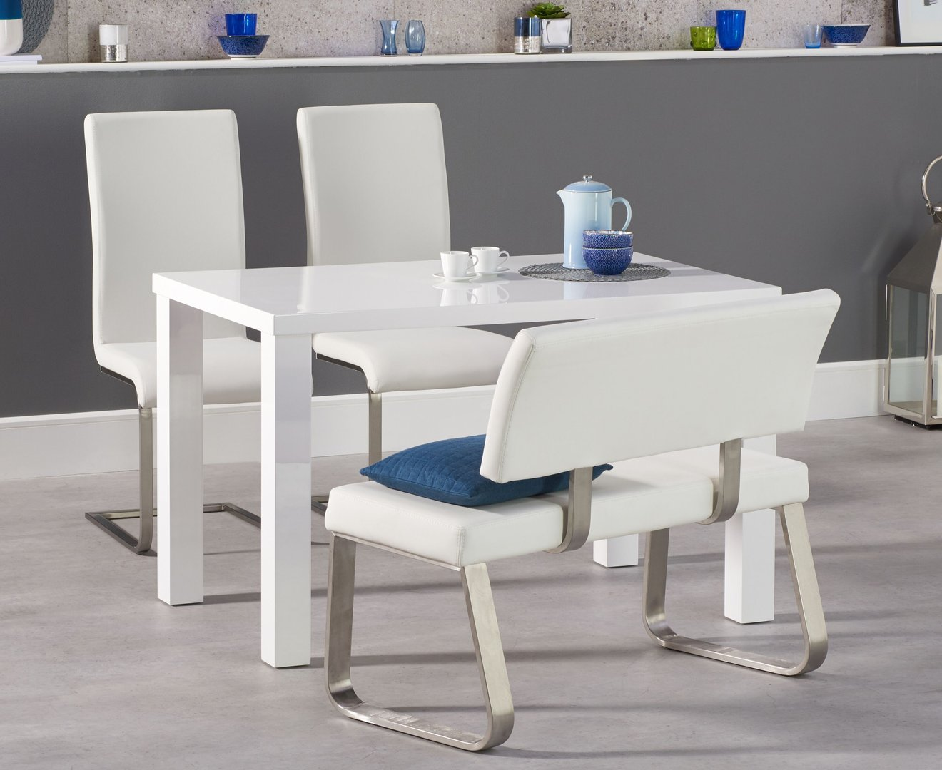 white dining table and bench set