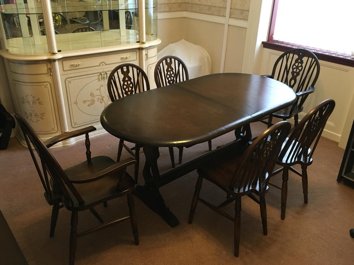 oak dining table and chairs for sale