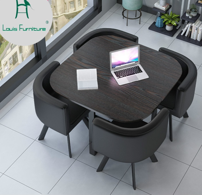 Louis Fashion Office Furniture Sets Simple Modern Negotiating Tables And Chairs Wait Minimalism Small Sized Aliexpress