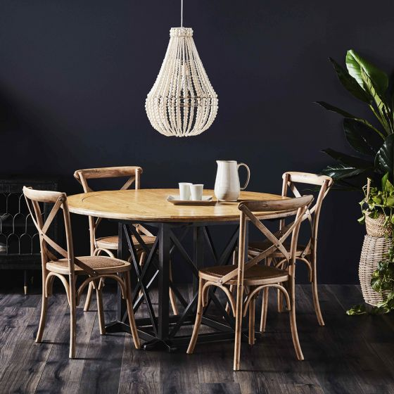 distressed black dining table and chairs