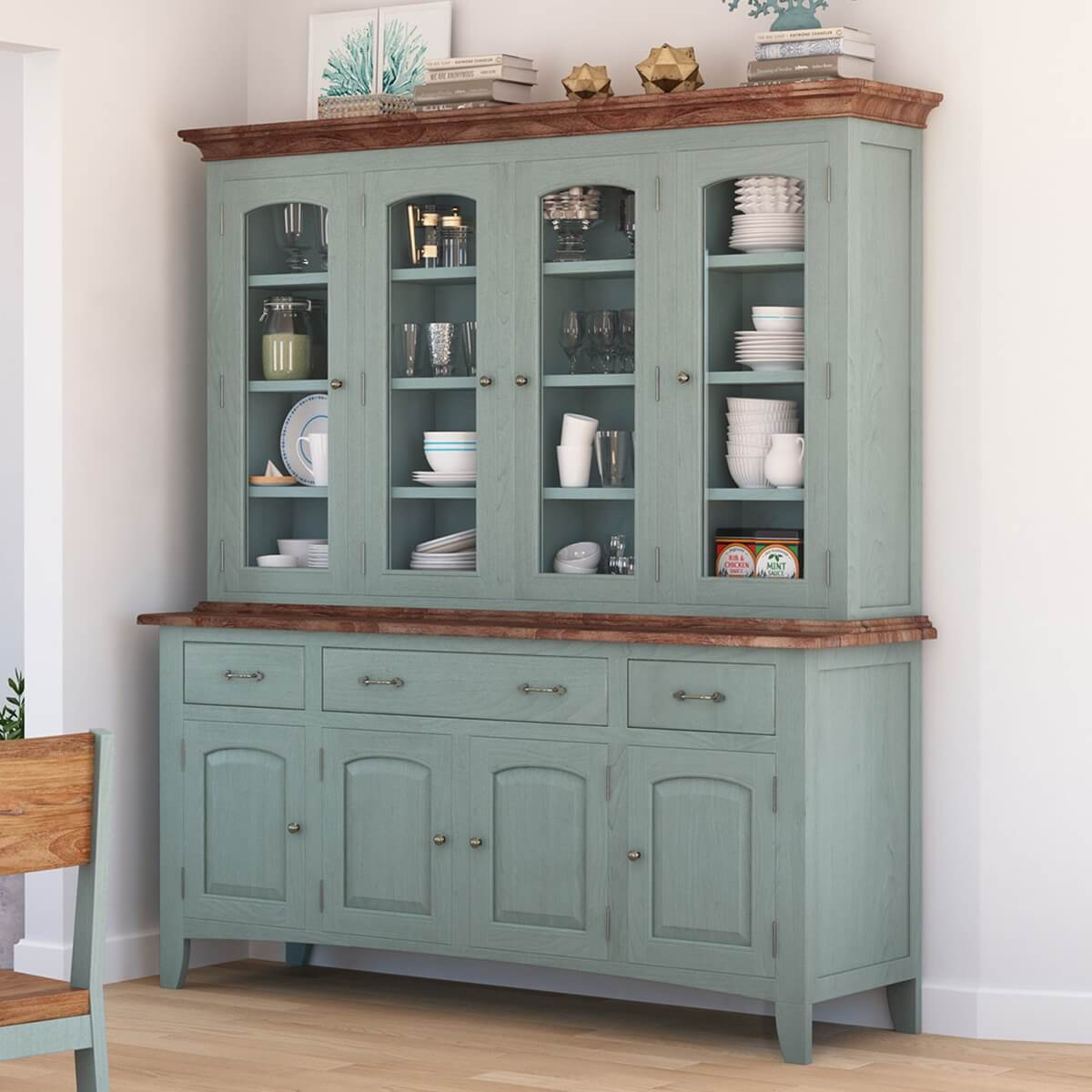 farmhouse dining table and hutch