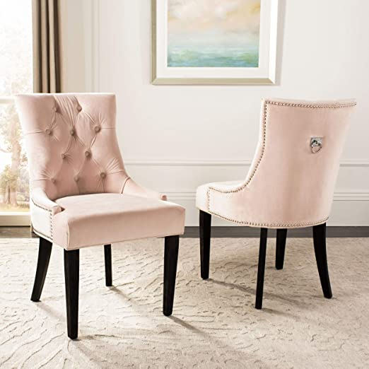 pink tufted dining chair