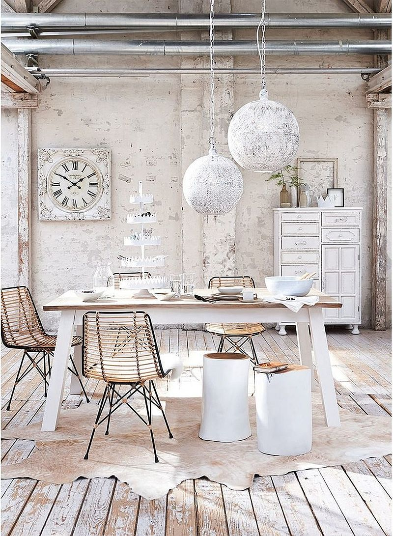 white shabby chic dining table