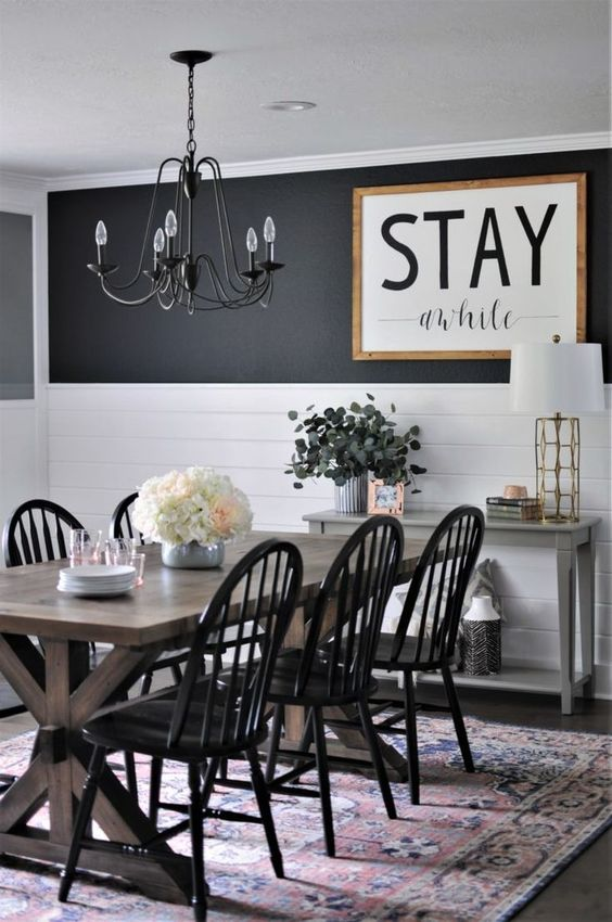 white dining room table with black chairs
