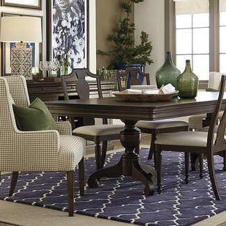 two tone pedestal dining table