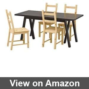 ikea wooden dining table 4 chairs