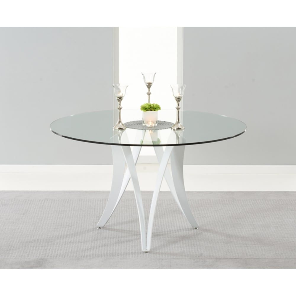 glass dining table white legs