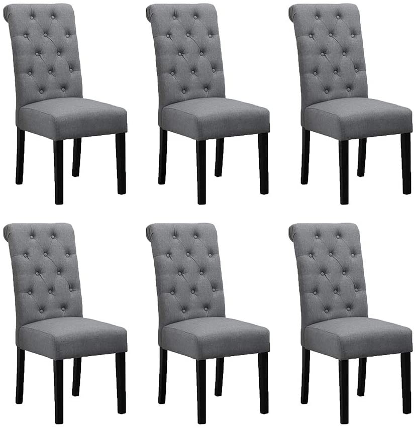 gray upholstered dining room chairs