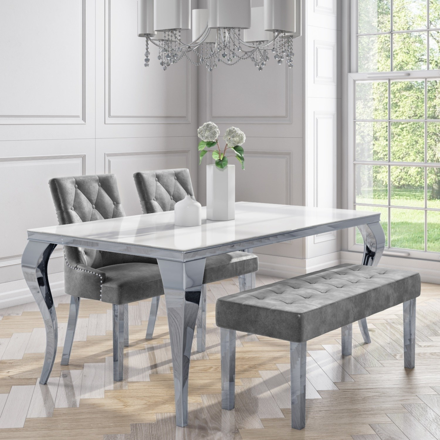 White Mirrored Dining Table With 2 Chairs In Grey Velvet 1 Bench Louis Furniture123