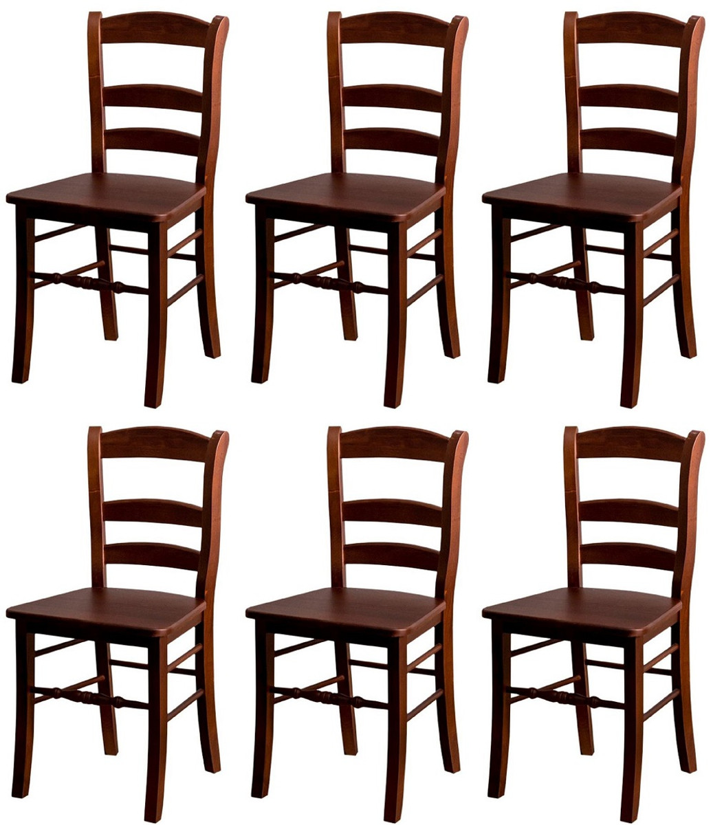Casa Padrino Country Style Dining Room Chair Set Brown 46 X 41 X H 91 Cm Solid Wood Kitchen Chairs Set Of 6 Dining Room Furniture In Country Style