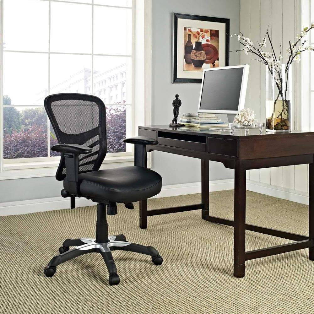 modway articulate black mesh office chair with dual caster wheels